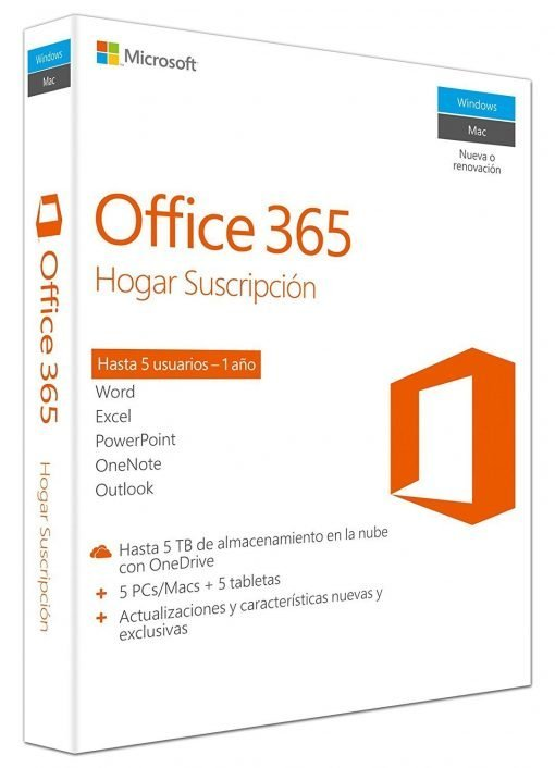 Microsoft Office 365 Hogar – 5 Usuarios/1 Año, 5Pc/Mac + 5 Tablet